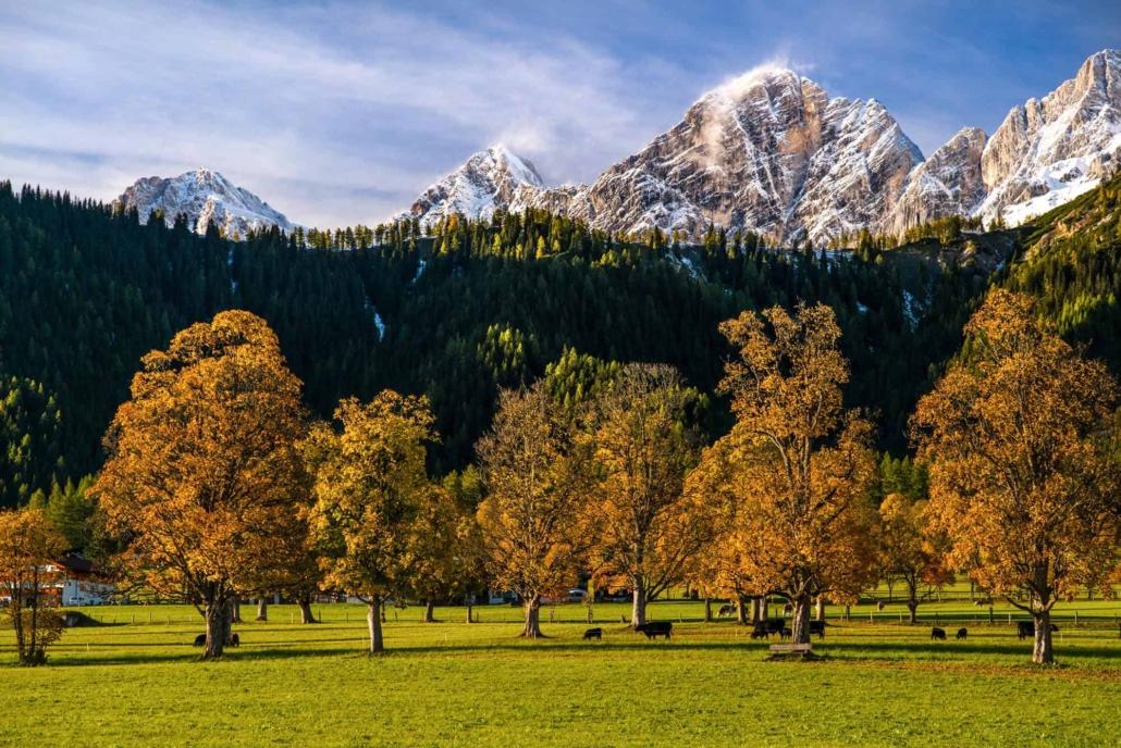 Beeindruckendes Farbenspiel der Natur mit verschneiten Berggipfeln