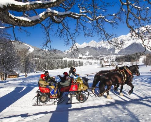 Ramsau Winter Schlittenfahrt Dachstein-Hotel Matschner