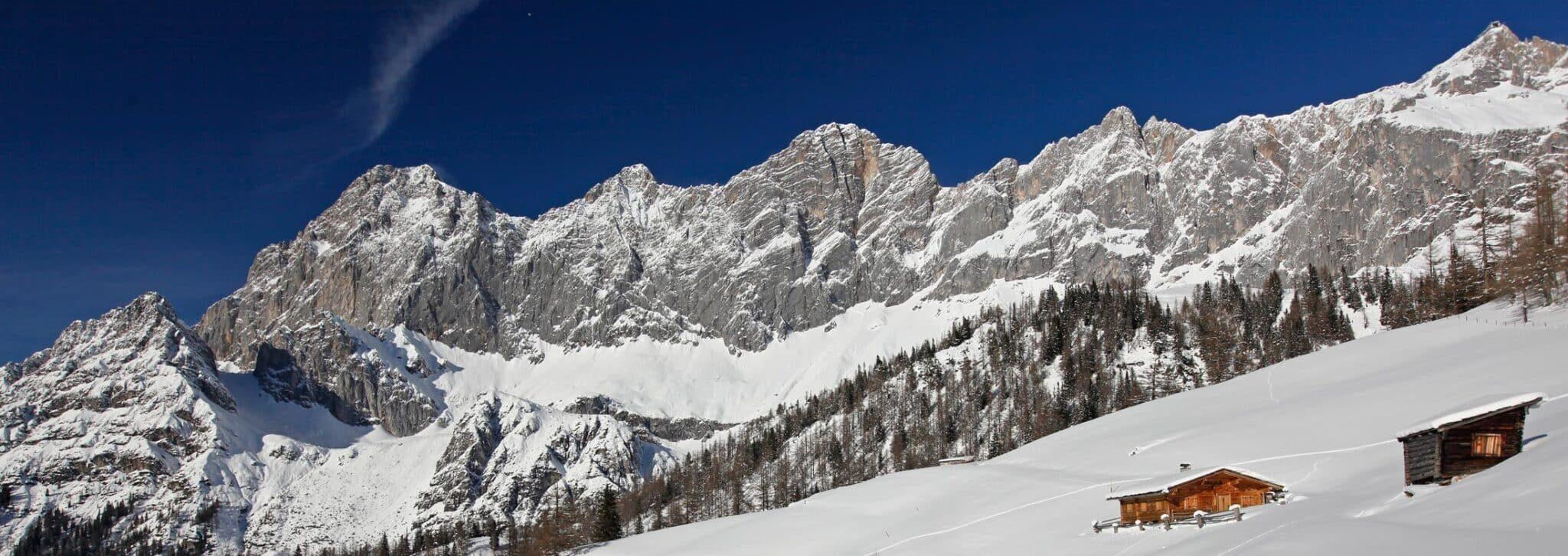 Dachstein im Winter mit Neustadtalm